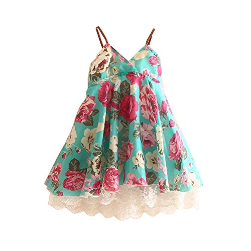 Girls Casual Dress Slip (Mud Kingdom Girls Slip Dress Floral Chiffon Summer Holiday Size 7 8 Green)