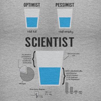 NERDO Optimist Pessimist Scientist - Herren T-Shirt, Größe XL, Grau Meliert