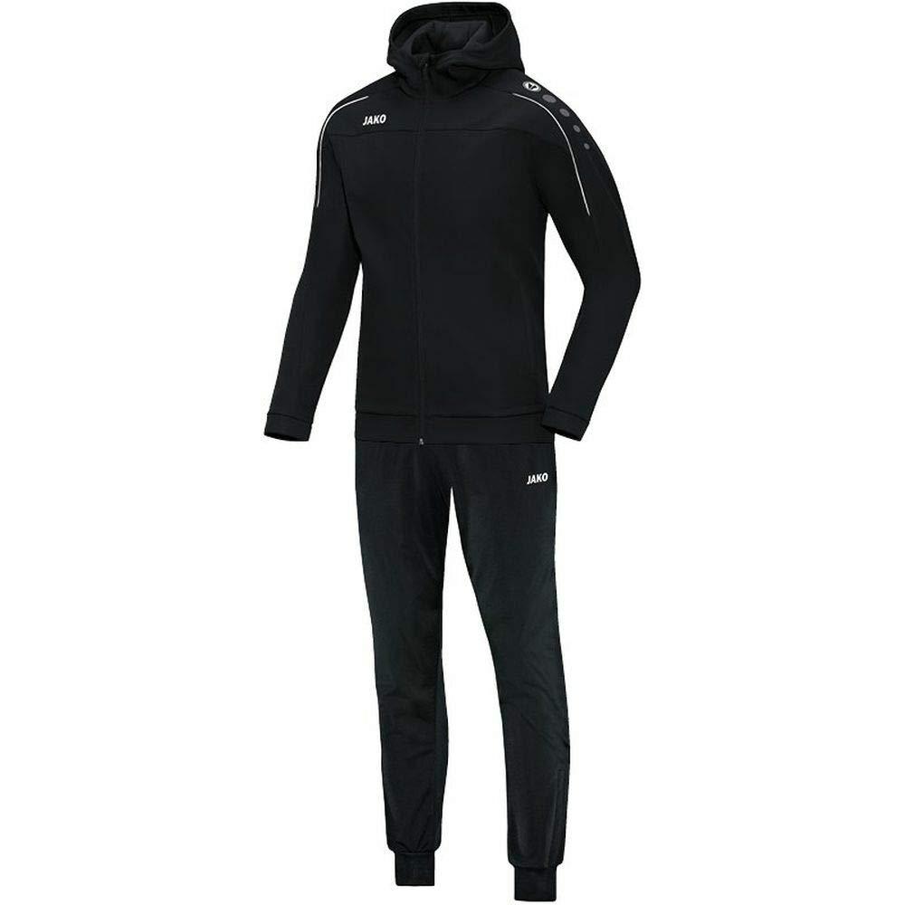 JAKO Fu/ßball Trainingsanzug Polyester Classico mit Kapuze Kinder Sportanzug schwarz
