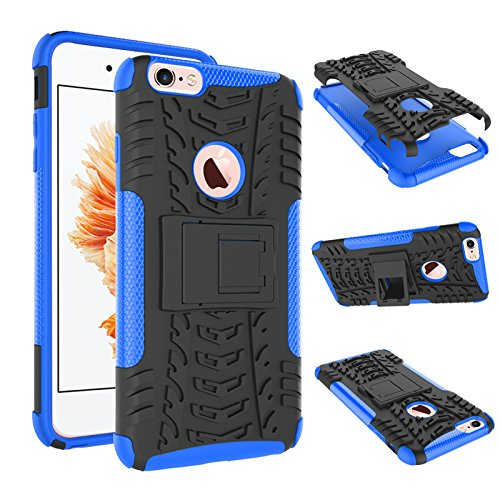 Price comparison product image iPhone 6S Plus Case, iPhone 6 Plus Case, Heavy Duty Protective Cover Dual Layer Hybrid Shockproof Protective Case with kickstand Hard Phone Case Cover for iPhone 6 Plus / 6S Plus [5.5 Inch] Blue