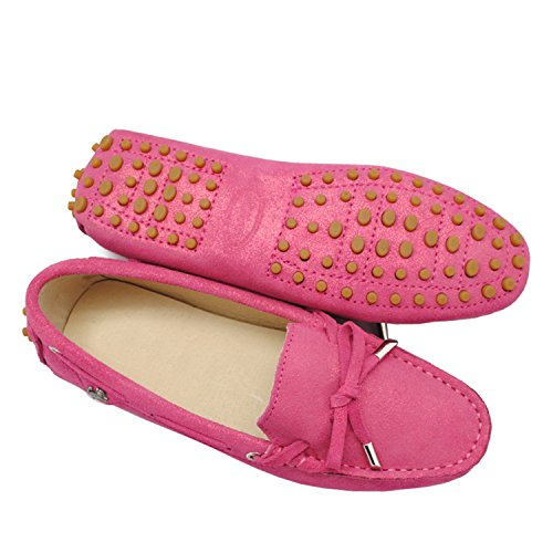 Minishion Girls Womens Casual comfortable Slip On Glitter Knot Flats Loafers Rose