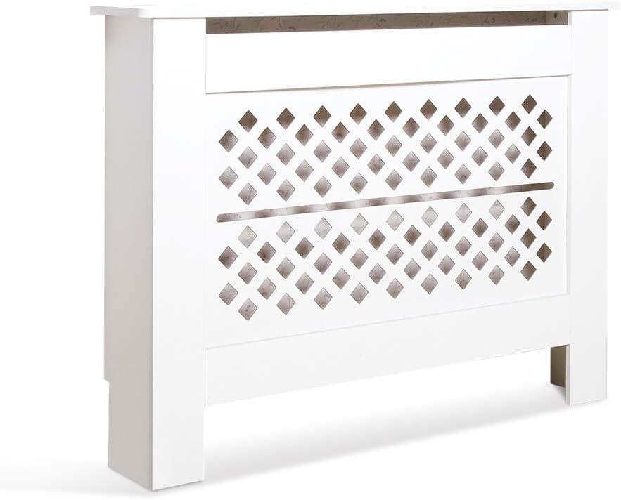 Blanc Planche sans Peinture Mondeer Horizontal, 111x19x82cm Meuble de Rangement pour Salon Moderne Cache Radiateur