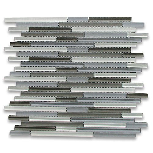 Grey Blends Glass Modern Random Linear Brick Mosaic Tile