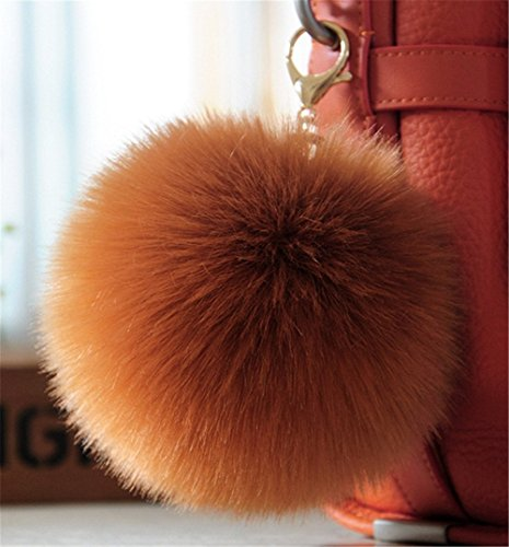Two Monitors 1 Piece (Dikoaina 2 Pieces Faux Fur Pom Pom Keychain Bag Purse Charm Pendant Gold Ring Fluffy Fox Fur Ball (Chocolate))