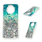 MOTO G6 Plus Case, Clear Liquid Glitter Case Kawaii Bling Shiny Sparkle Shimmer Flowing Moving Hearts Shock Absorption Soft TPU Bumper Drop Resistant Ultral Cover for Motorola MOTO G6 Plus - Butterfly