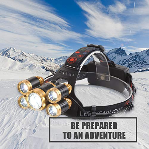 NEWEST Headlamp 12000 Lumen Brightest CREE LED Work Headlight USB Rechargeable, 4 Modes IPX4 Waterproof Zoomable Head Lamp Best Head Lights for Camping Cycling Hiking Outdoors by Alyattes (Image #6)