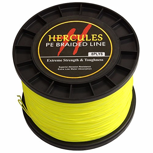 - HERCULES 1000m 1094yds Fluorescent Yellow 10lbs-300lbs Pe Braided Fishing Line 8 Strands (200lb/90.7kg 0.75mm)