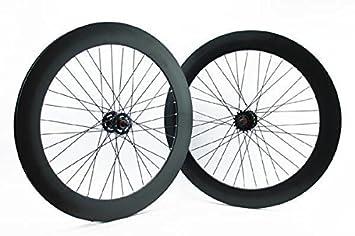 Ridewill Bike - Juego de ruedas para bicicleta de pista de piñón fijo, 2 unidades, perfil de 70 mm de alto, color negro: Amazon.es: Deportes y aire libre