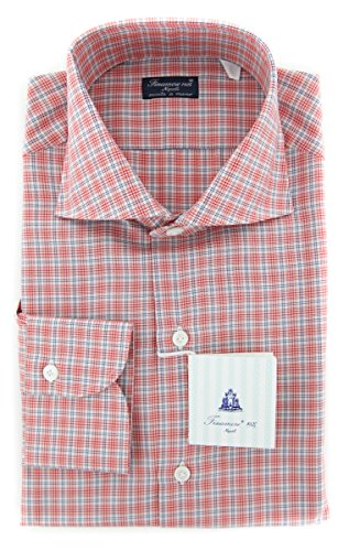 Finamore New Napoli Red Plaid Slim Shirt (Napoli Shirt Red)