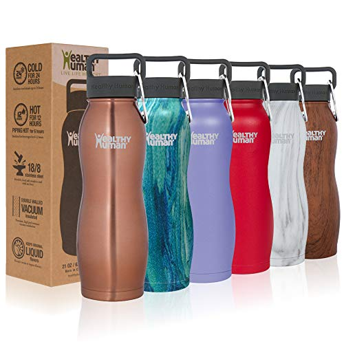 Healthy Human Stainless Steel Vacuum Insulated Curve Water Bottles | Keeps Cold 24 Hours, Hot 12 Hours | Double Walled Water Bottle | Carabiner and Hydro Guide | 21 oz - Cold Hot Water