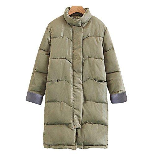 Invierno nuevo grueso de gran tamaño pan de algodón abrigo mujeres sección larga sobre las rodillas chaqueta de las señoras Green