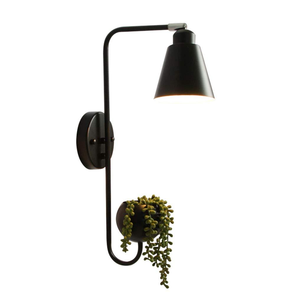 Home mall- Loft Industrial Retro Wandleuchte   Eisen Wandleuchte mit verstellbarem Lampenkopf für Balkon Wohnzimmer Schlafzimmer (Farbe   Frosted schwarz-49X12X28cm)