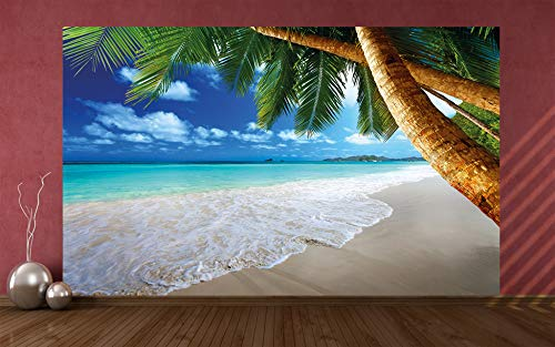 GREAT ART Photo Wallpaper Palm Beach Decoration 132.3x93.7in / 336x238cm – Nature Tropical Landscape Caribbean Ocean Summer Holiday Island Mural – 8 Pieces Includes Paste