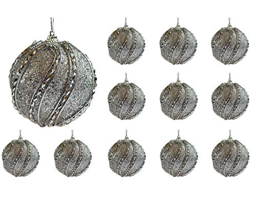 Jeweled Christmas Tree - Festive Season 12pk 80mm Silver Jeweled Christmas Tree Ball Ornaments