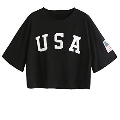 e116493311 Kyrakiss Women's USA Letter American Flag Printed Dropped Shoulder Crop  Tops Tee Short Full Sleeve Causal