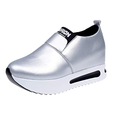 Mujeres Primavera Otoño Moda Transpirable Mujer Cuña Aptitud Ambulante Cuero Zapatillas Zapatos Mujer de Deporte Suaves Zapatillas Casual Loafers ZARLLE: ...