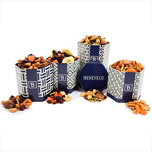 (Benevelo 4 Tin Flavored Nuts Set (Trail Mix)