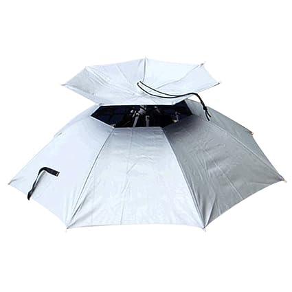 Qianle paraguas sombrilla sombrero 2 capas de cabeza para pesca Camping senderismo, plata, talla