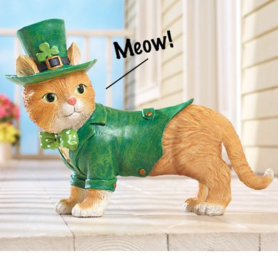 Welcome Hydrangea (Cute Welcome Cat Motion Sensored Tabby St. Patrick's Day Leprechaun Outfit Yard Porch Greeter Decoration)