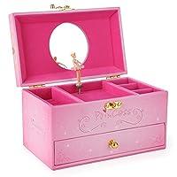 SONGMICS Ballerina Musical Jewelry Box Faux Leather Music Box for Girls, Pink Princess UJMC12P