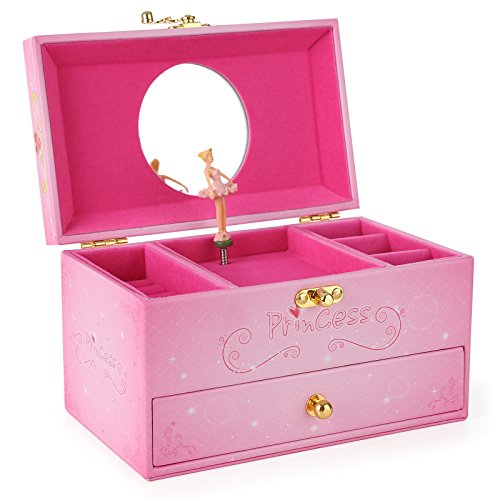 SONGMICS Girls Ballerina Musical Jewelry Box Faux Leather Music Box with Drawer, Pink Princess UJMC12P