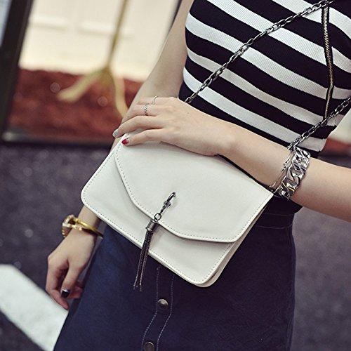 Messenger Women Mini Beige Messenger Bags Shoulder Leather Bag Chain Tassel Crossbody PU Domybest xFRBnvwn