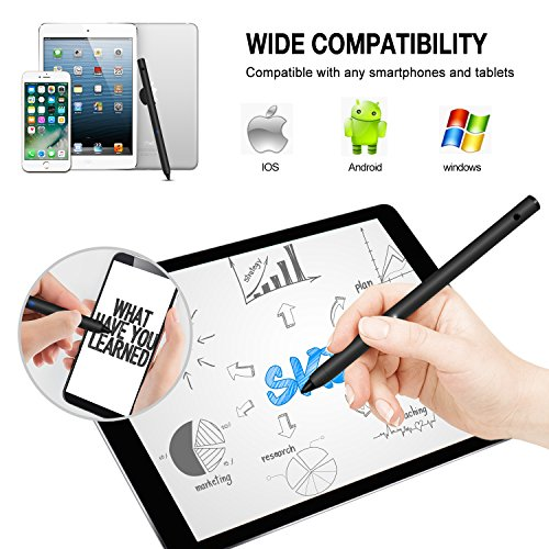 Electronic Stylus, LEFON Active Stylus Digital Pens with 1.8 mm Fine Point Copper Tip for iPhone/iPad/Samsung Tablets and Other Capacitive Touchscreens Devices (Black) by Lefon (Image #2)