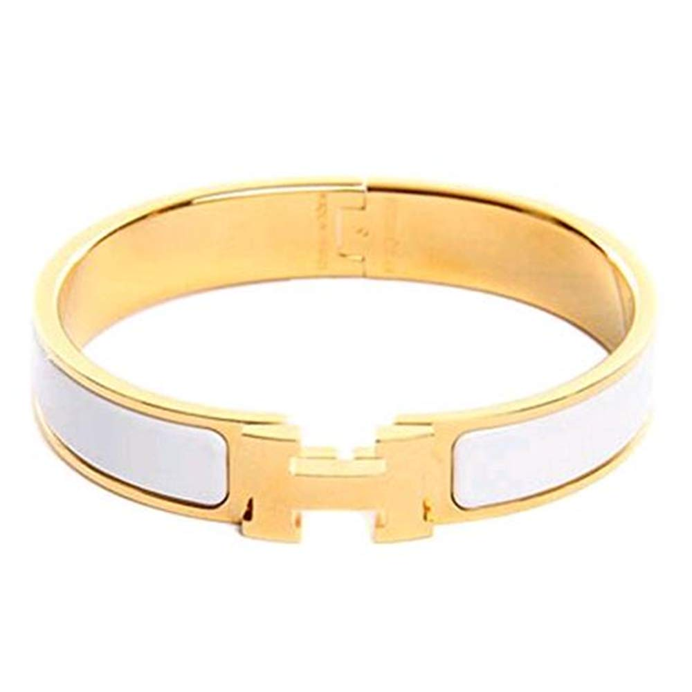 AMESON H-shaped Buckle Bracelet Bangle for Women (White-Gold)