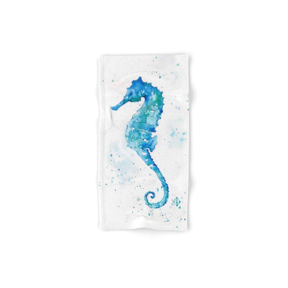 Society6 Bath Towel, 30'' x 15'', Sailing Along (Seahorse) by sillierthansally by Society6