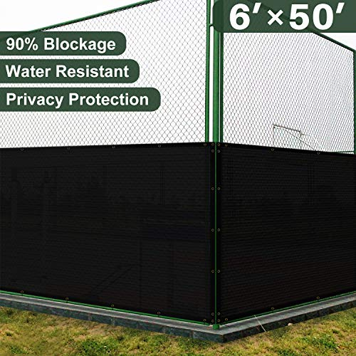 Coarbor 6' x 50' Privacy Fence Screen with Brass Grommets Heavy Duty 140GSM Pefect for Outdoor Back Yard Patio and Deck Black ()