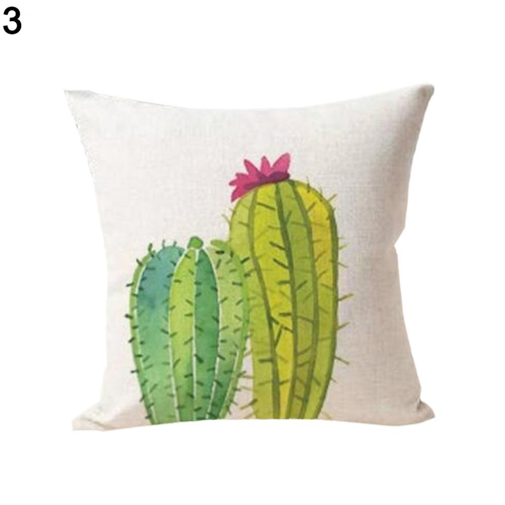 Succulent Cactus Potted Comfortable Linen Pillowcase Sofa Home Cushion Cover - 1# Ameesi