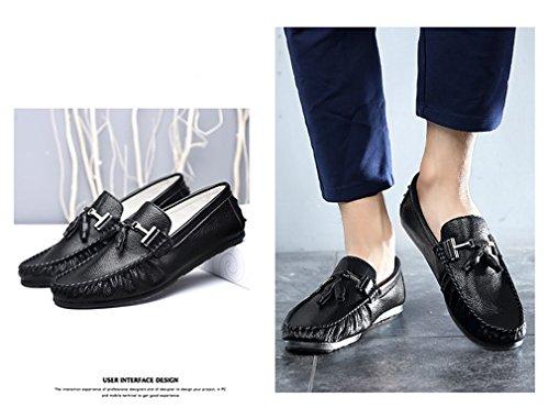 de de hombres hombre de borla Loafers conducción para zapatos moda Men para Zapatos cuero mocasines blanco los Black ocasionales de hombres de Bridfa lujo qOwUxAZ4v