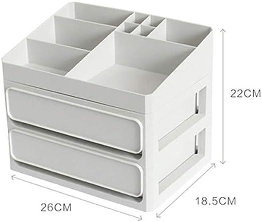 Organizador de maquillaje de plástico Caja de almacenamiento de baño Organizador de cosméticos Escritorio de oficina Maquillaje Caja de almacenamiento de joyas Contenedor de artículos diversos: Amazon.es: Hogar