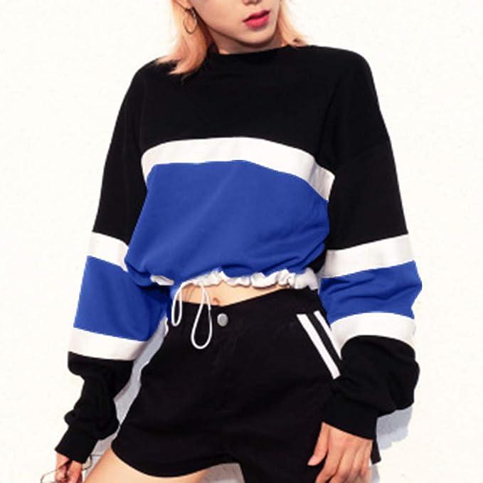 ZIYOU Damen Sport Pullover Tops Splicing Farbe Patchwork