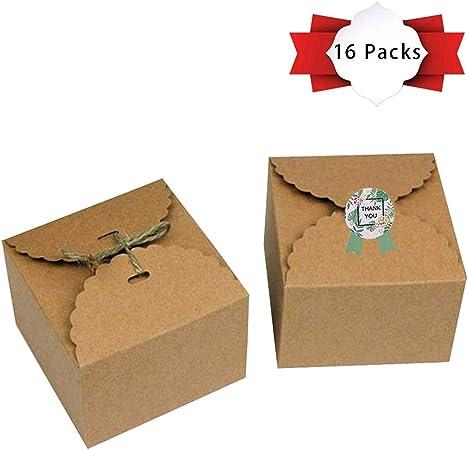 Paquete de 16 cajas de regalo de papel kraft con cintas y adhesivo ...