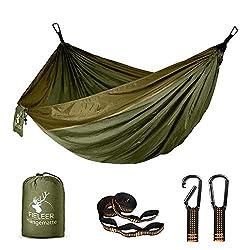 Fieleer Ultraleicht Reise Camping Hängematte Outdoor Hammock | Mit Premium Karabinern & 2,5cm Breiten Schwerlastgurten…