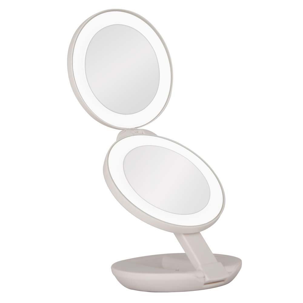 Doppelter Reise-Spiegel, 1 x und 10 x mit LED-Licht ZADRO Products Inc. USA LEDT01