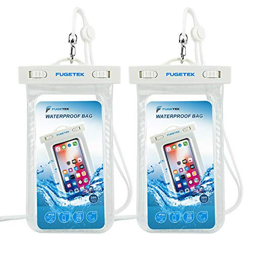Fugetek Universal Waterproof Cell Phone Case Pouch, IPX8, Dry Bag for iPhone 6, 7, 8, X, and Android Samsung Galaxy, Pixel, HTC Smartphones, White, (2 Pack) (Smartphone I Phone 6)