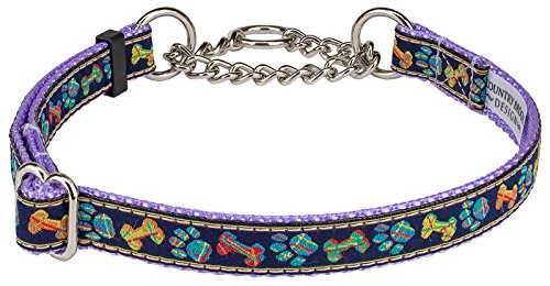 Plaid Bones And Paws Woven Ribbon on Lavender Half Check Dog Collar Limited Edition-M