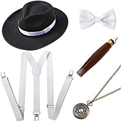 BABEYOND 1920s Mens Gatsby Costume Accessories Set Includes Panama Hat Elastic Y-Back Suspender Pre Tied Bow Tie Pocket Watch and Plastic Cigar (Set-3)