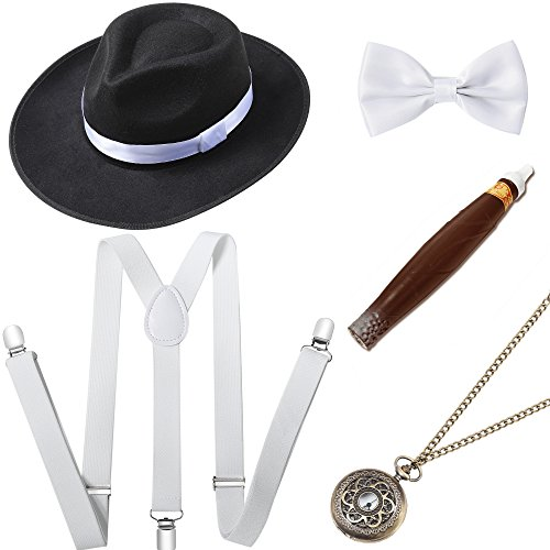 BABEYOND 1920s Mens Gatsby Costume Accessories Set Includes Panama Hat Elastic Y-Back Suspender Pre Tied Bow Tie Pocket Watch and Plastic Cigar (Set-3) -