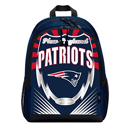 Officially Licensed NFL New England Patriots Lightning Kids Sports Backpack, Blue