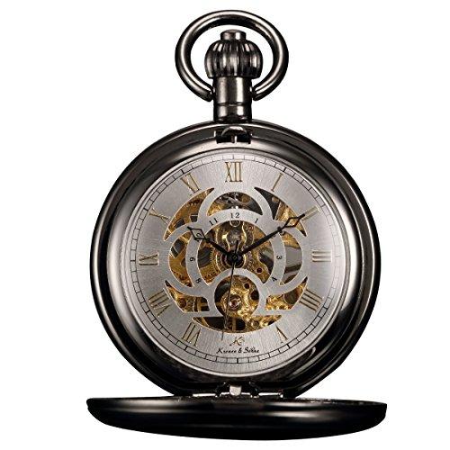 KS+Unisex+KSP009+Full+Hunter+Skeleton+Dial+Mechanical+Pocket+Watch