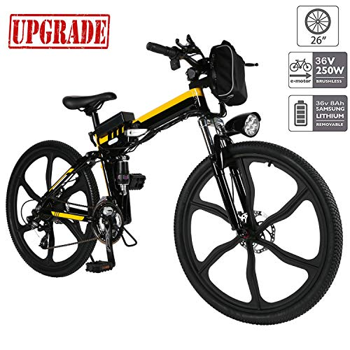 Aceshin Electric Mountain Bike, 26 inch Folding E-Bike Citybike Roadbike with Lightweight Magnesium Alloy 6 Spokes Integrated Wheel, Lithium-Ion Battery (36V 250W), and Shimano 21 Speed Gear