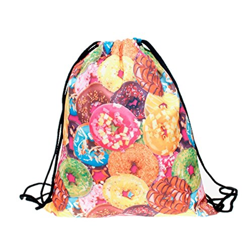 Fashion Drawstring Bag Zerowin Doughnuts Printed Backpack Shopping Bag Floding Swimming Bags Home Travel Storage Use by Zerowin