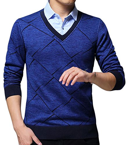 today-UK Men's Solid Fake Two-piece Shirt Collar Pullover Sweater Navy blue