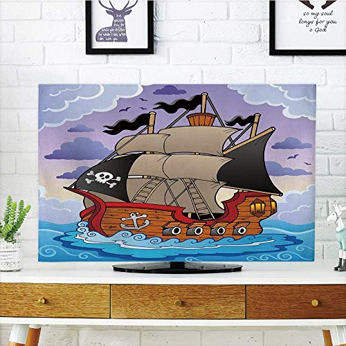 ovely,Pirate,Mysterious Stormy Seas with Sailing Vessel Flags Swirled Waves Heavy Clouds Cartoon Decorative,Multicolor,Diversified Design Compatible 60