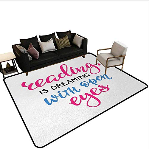- AlEASYHOME Play Rugs for Kids Rooms, Reading is Dreaming with Open Eyes Quotation Print on White Background, 23.5
