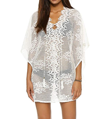 Bestyou Women's Crochet Floral Lace Lace-up Swimsuit Cover up Tunic Top (White) free size