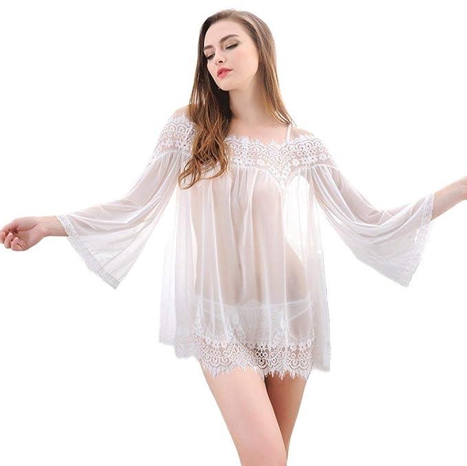 ... Manga Larga Fashion Transparentes Sin Tirantes Camisón Vestido Colores Sólidos Pijamas Mujer Casuales Mujeres Batas: Amazon.es: Ropa y accesorios